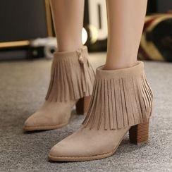 Monde - Fringed Block Heel Ankle Boots