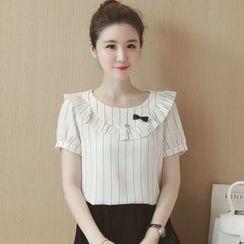 Munai - Short-Sleeve Paneled Striped Top