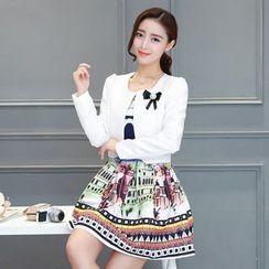 Ashlee - 套裝: 圖案無袖連衣裙 + 西裝外套