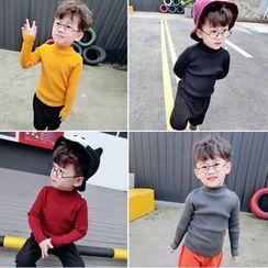 Twin Beans - 兒童純色高領毛衣