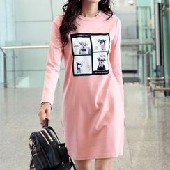 Zyote - Dog Print Long-Sleeve T-Shirt Dress