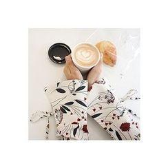 CHERRYKOKO - Beribboned-Cuff Floral Pattern Top
