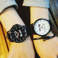 Honey Bee - Couple Matching Lettering Strap Watch