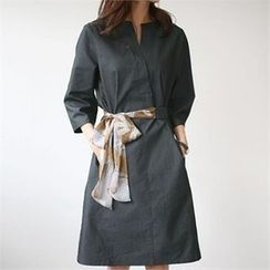 YOOM - Open-Placket 3/4-Sleeve Dress with Sash