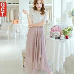 Q.C.T - Asymmetric Hem Maxi Skirt