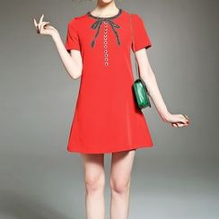 Alaroo - Embellished Short-Sleeve A-Line Dress