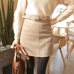 Cherryville - Faux-Leather Mini Skirt with Belt