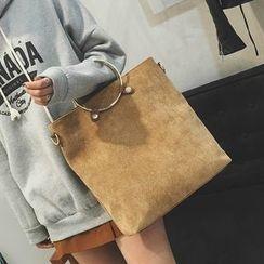 薇薇 - 套装: 金属戒指手带手提包 + 纯色手提包