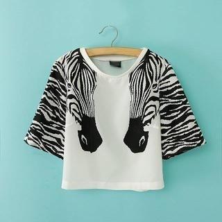 JVL - Short-Sleeve Zebra-Print T-Shirt