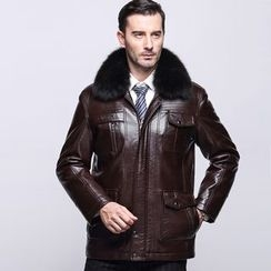 Cipher - Furry Collar Faux Leather Jacket