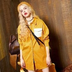 ELF SACK - Long-Sleeve Pocket-Accent Long Blouse
