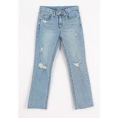 REDOPIN - Distressed Straight-Cut Jeans