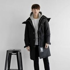 Seoul Homme - Hooded Funnel-Neck Padded Coat