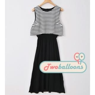 JVL - Bow-Back Striped Layered Dress