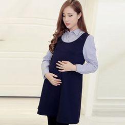 GESTA - Maternity Long-Sleeve Mock Two Piece Dress