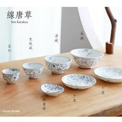 house on map - Hand Painted Plate / Sauce Dish