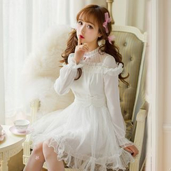 Candy Rain - Frill Trim Long Sleeve Chiffon Dress
