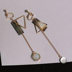 WOQIAO - Geometric Non-Matching Drop Earrings