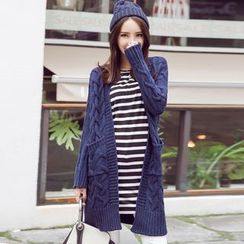 wisperia - Cable Knit Long Cardigan