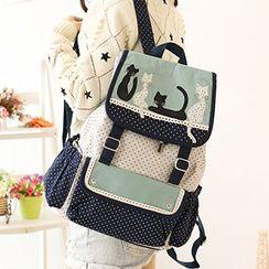Canvas Love - Cat Print Polka Dot Canvas Backpack