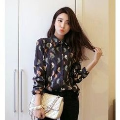 Eva Fashion - Print Corduroy Long-Sleeve Blouse