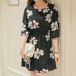 Q.C.T - Floral Print Elbow-Sleeve Dress