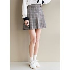 J-ANN - Pleated Glen-Plaid Mini Skirt