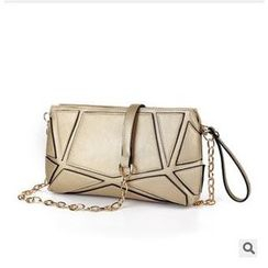 LineShow - Geometric Pattern Panel Chain Shoulder Bag