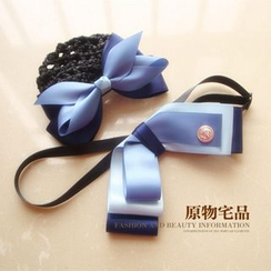 Joycee - Bow Hair Barrette with Snood Net / Bow Tie / Set: Bow Rhinestone Hair Clip + Bow Tie
