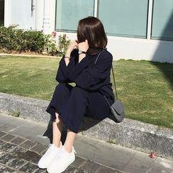 A7 SEVEN - 寬鬆衛衣套裝女春秋新款韓版學生闊腿褲休閒衛衣兩件套