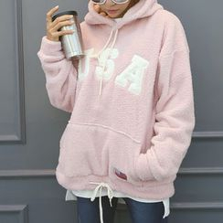 DANI LOVE - Hooded Letter Embroidered Fleece Pullover