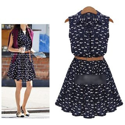 Arroba - Set: Sleeveless Cat Print Shirtdress + Belt