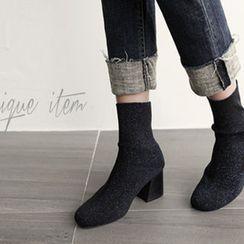 NIPONJJUYA - Chunky-Heel Glitter Elastic Short Boots