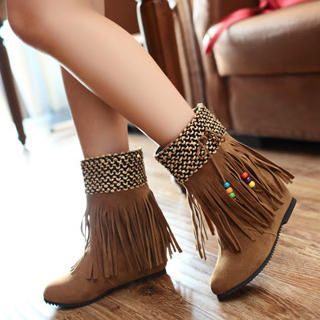 77Queen - Beaded Fringed Wedge Short Boots