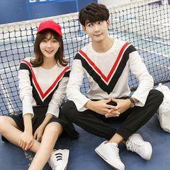 Je T'aime - Couple Matching Chevron Long-Sleeve T-shirt