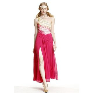 Romantic Flavor - One-Shoulder Sequined Slit A-Line Evening Gown