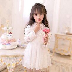 Candy Rain - Kids Furry Panel Lace Long-Sleeve Dress