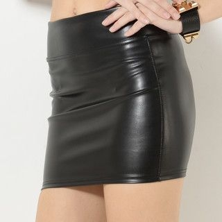 YesStyle Z - Faux-Leather Pencil Miniskirt
