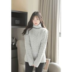 MyFiona - Turtle-Neck Cable-Knit Sweater