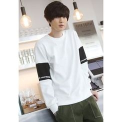 PLAYS - Color-Block Sleeve Round-Neck T-Shirt
