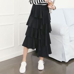 DANI LOVE - Band-Waist Long Tiered Skirt