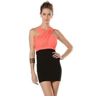 YesStyle Z - Sleeveless Cross-Strap Two-Tone Party Dress