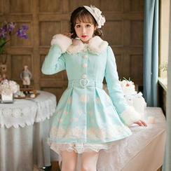 Candy Rain - Furry Trim Embroidered Coatdress