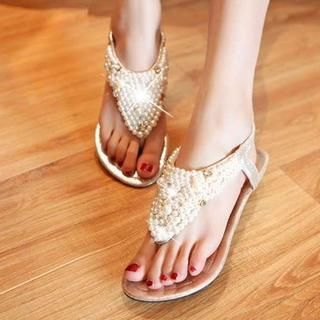 Pangmama - Beaded Wedge Sandals