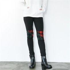 GLAM12 - Contrast-Trim Skinny Jeans