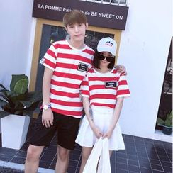 We Belong - Couple Matching Stripe Short-Sleeve T-Shirt / Shorts / Pleated A-Line Skirt
