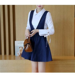 Eighoo - Set: Long-Sleeve Shirt + Denim Suspender Skirt