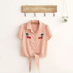 11.STREET - Embroidered Gingham Short-Sleeve Blouse