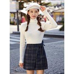 icecream12 - Wrap-Front Check Mini Skirt