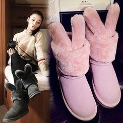 幸福鞋坊 - 真皮扣踝帶雪靴
